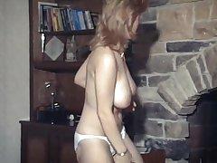 Strip Close by Perforator - big sparkling burgundy British boobs dancer