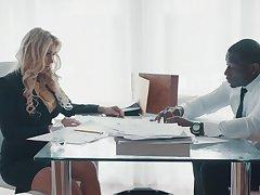Super X business woman Katie Morgan seduces black companion