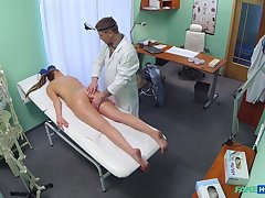 Joyless chick Jenny Simons gets a full body exam with cumshot