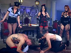 Disparaging strap-on anal fun with the slaved for three inside MILFs
