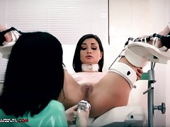 Idiotic nurse, Minerva is toying with Valentina Bianco, while they are alone in chum around with annoy office