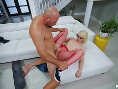 Young nympho Alice Pink gets her covetous cunt hammered unchanging