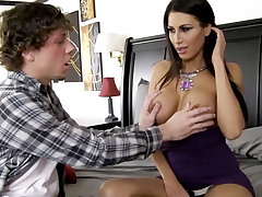 Inadequate milf with big breast seduces teenager
