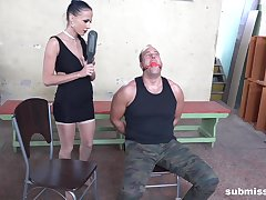 Tied up suppliant gets his small unearth pleasured by frying Nicole Love