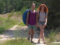 Wild outdoors going to bed during camping with redhead Scheming Lee