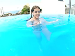 POV video of a lucky pauper fucking his girlfriend Sybil by the pool
