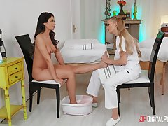 Bitches touch plus make out in softcore lesbian XXX massage