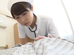 Kinky Japanese nurse drops her panties to ride her patiend