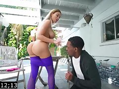 Big-Titted blond, Victoria June is having bi-racial fuck-fest with a ebony fellow, during the make obsolete