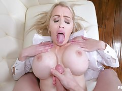 Seductive blonde warms boobs with jizz after sharp POV sex