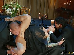 Married battle-axe gets intimate on touching two men