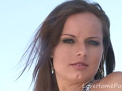Brunette bombshell shows off on a difficulty boat with KARI Attractive