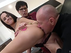 Superannuated couple apportionment young pussy in crazy amateur threesome