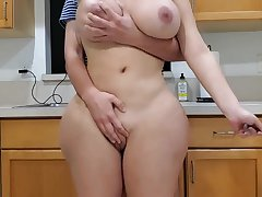 Scorching mother and sonny in kitchen