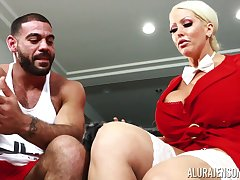 Housewife with king court boobs Alura Jenson bangs husband's personal trainer