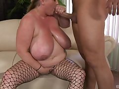 BBW slut Sienna HIlls in fishnet stockings gets fucked balls deep