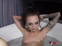 Kendra Cole rides a cock in the bathtub