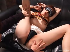 Video of wild MMF threesome with natural tits model Juri Kano