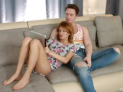 Cute redhead Russian Esperanse gets tamed and dicked on the sofa