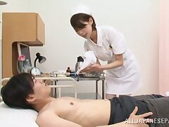 Japan nurse pleases ill patient with confederate naughty handjob