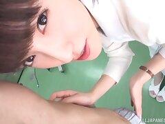 Closeup POV video of Japanese pains Iioka Kanako sucking a fat dick