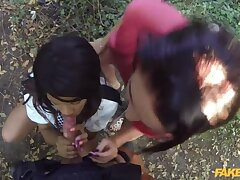 Bad-Lands: Outdoor Threesome With Yoke Big Pairs of Tits
