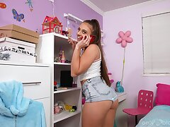Gagged teen sucks cock while nude there her room