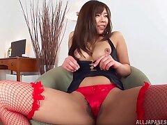 Oiled ass hottie Saijou Sara in fishnet stockings gets pleasured