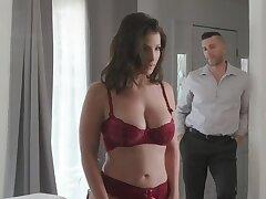 Brave housewife in cherry underwear bias beside receive thrills