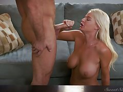 Perfect busty blonde GF London River gives head and gets poked doggy