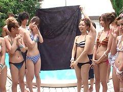 Kinky Japanese pool side orgy with teen bikini babes