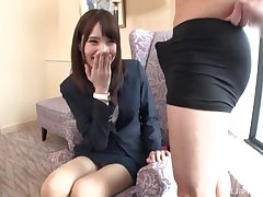 Slender Japanese dabbler gives a footjob and gets fucked in hammer away office