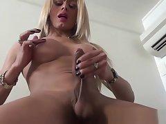 Blonde crystal set babe in jet lingerie jerks off til cumshot