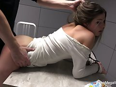 Instigation room is filled with moans of lusty Sarah Smith riding cop's cock