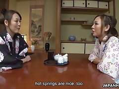 Lovely buxom Jap Akari Asayiri helps another kawaii Asian gal adjacent to masturbate