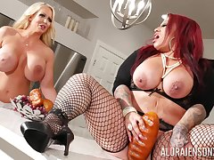 BBW lesbians Alura Jenson and Miss Poison please each other's pussies