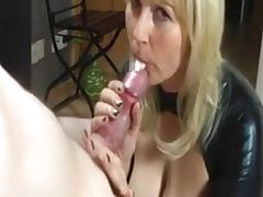 German blonde mom sucks her lover's chunky cock while her husband is unserviceable