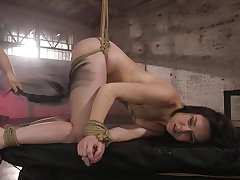 Tied and horny Juliette March gets her pussy fucked by handsome guy